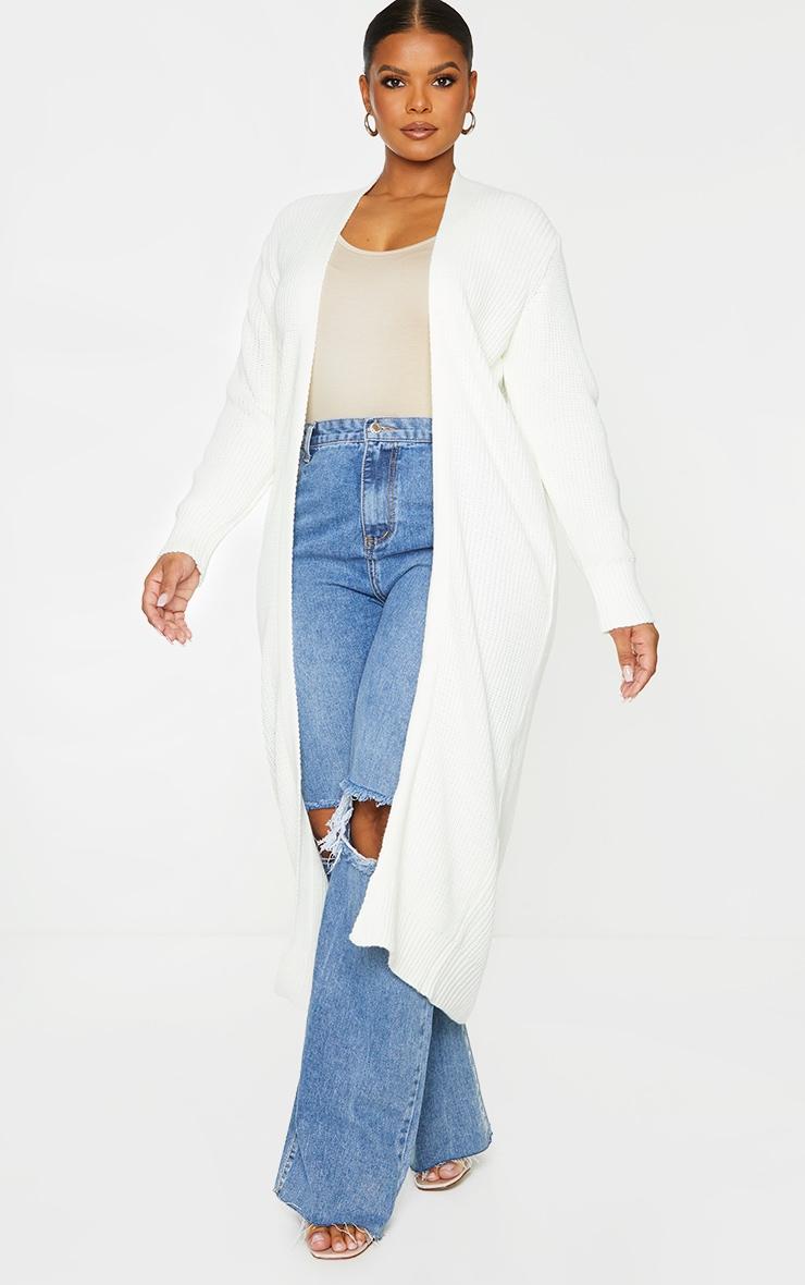 Plus Cream Maxi Knitted Cardigan 1