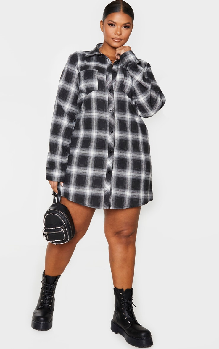 Plus Black Checked Oversized Shirt Dress 3