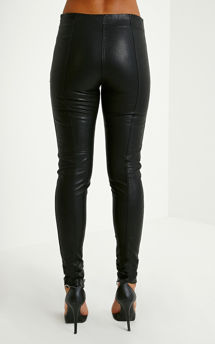 Lahra Black Faux Leather Trousers 4
