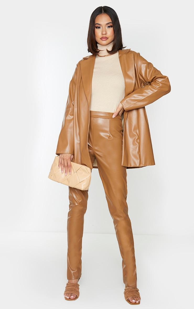 Tan Longline Lapel Detail Faux Leather Blazer 3