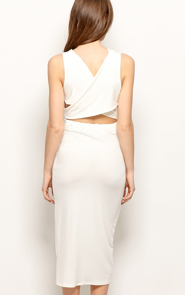 Chrissy White Silk Cowl Front Midi Dress 2