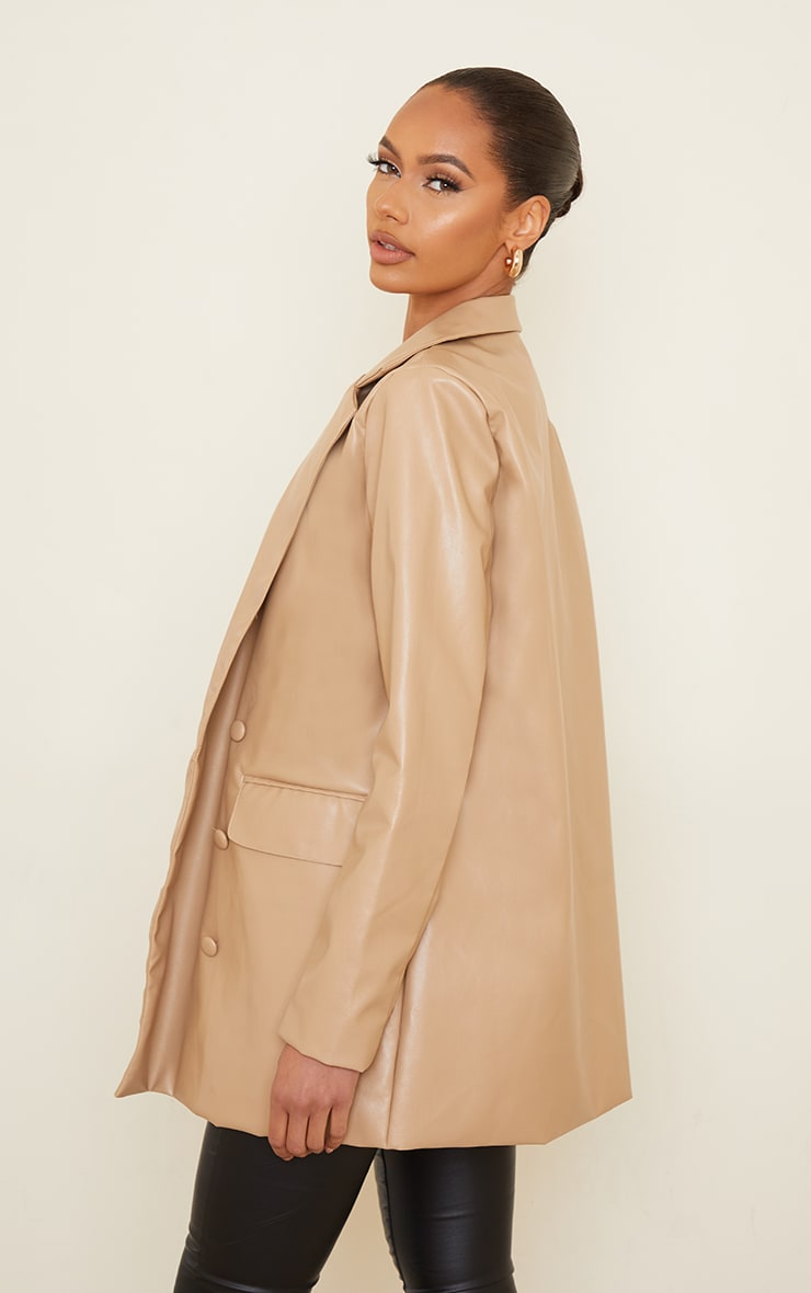 Sand PU Oversized Double Breasted Covered Button Blazer 2