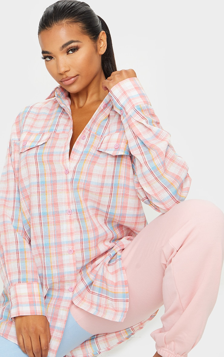 Baby Pink Checked Oversized Shirt 3