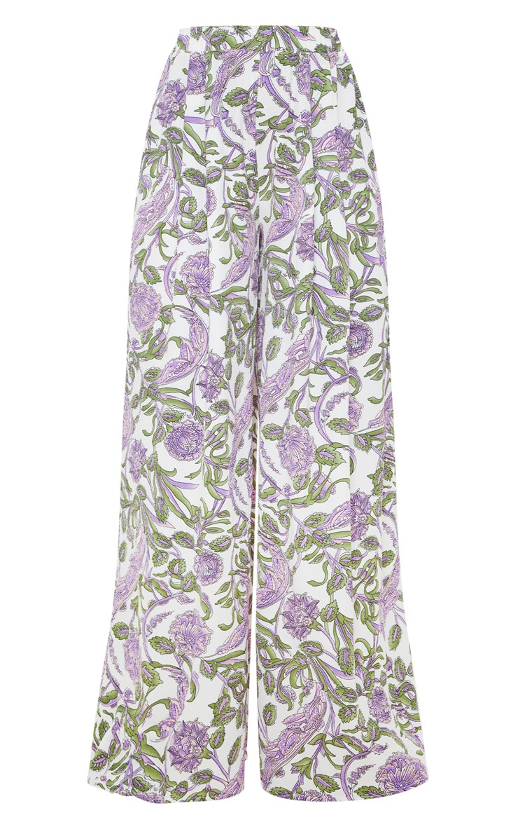 Cream Floral Wide Leg Trouser 3