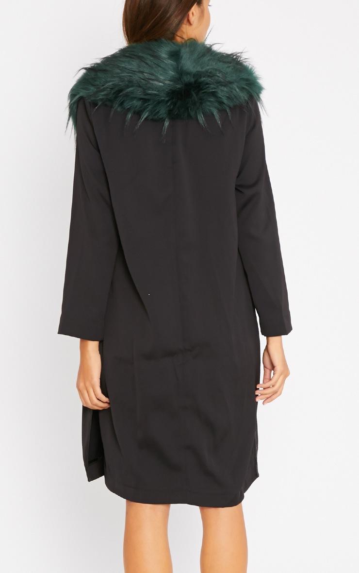 Felix Green Fur Collar Black Duster Coat 2