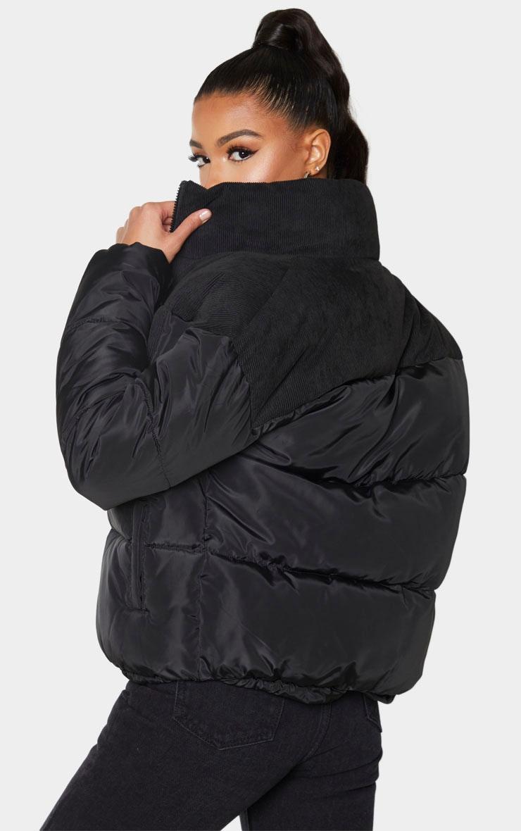 Black Cord Contrast Pocket Puffer 2