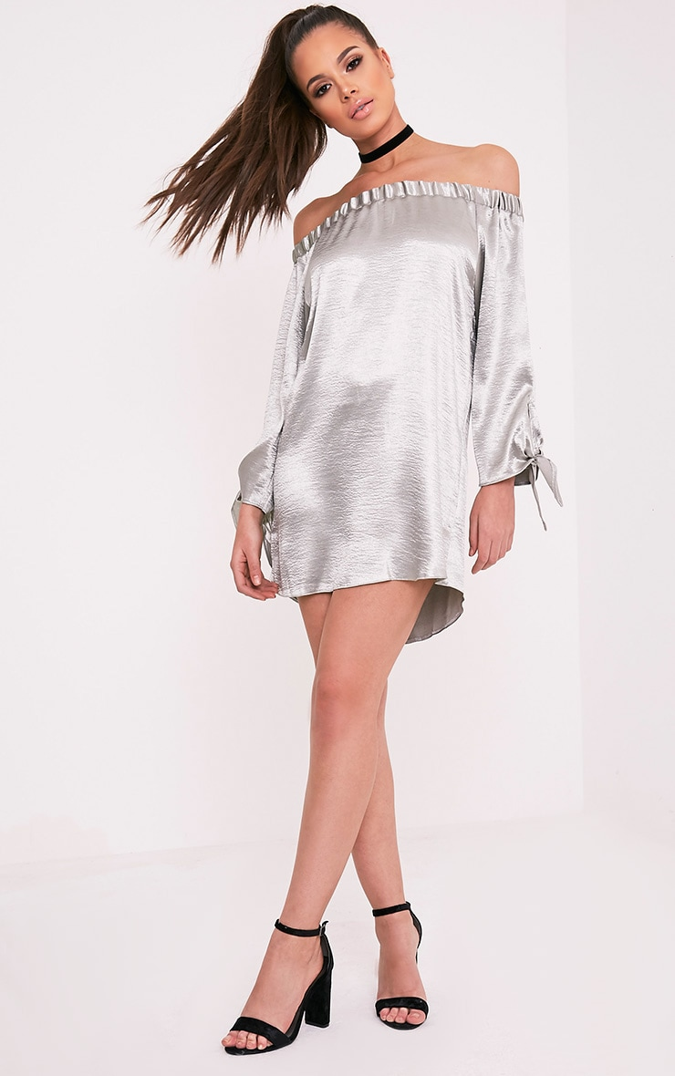 Cay Silver Satin Bardot Shift Dress 5