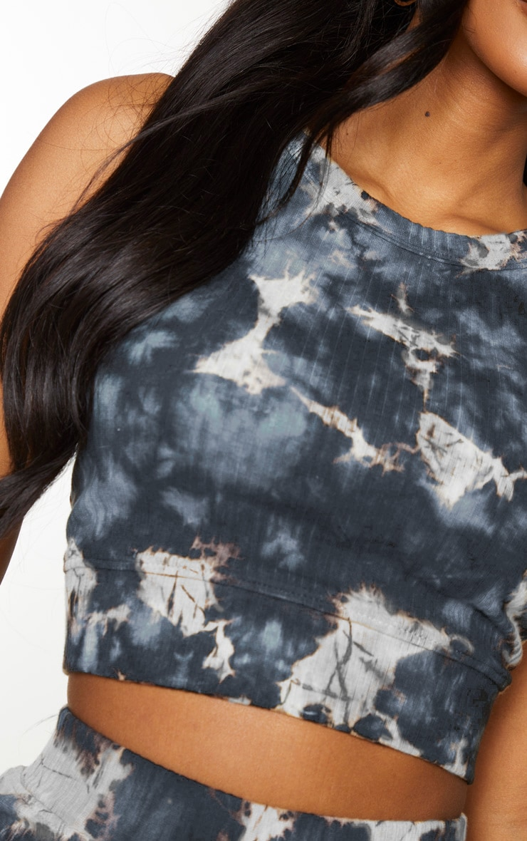 Shape Charcoal Tie Dye Thick Rib Sleeveless Crop Top 4