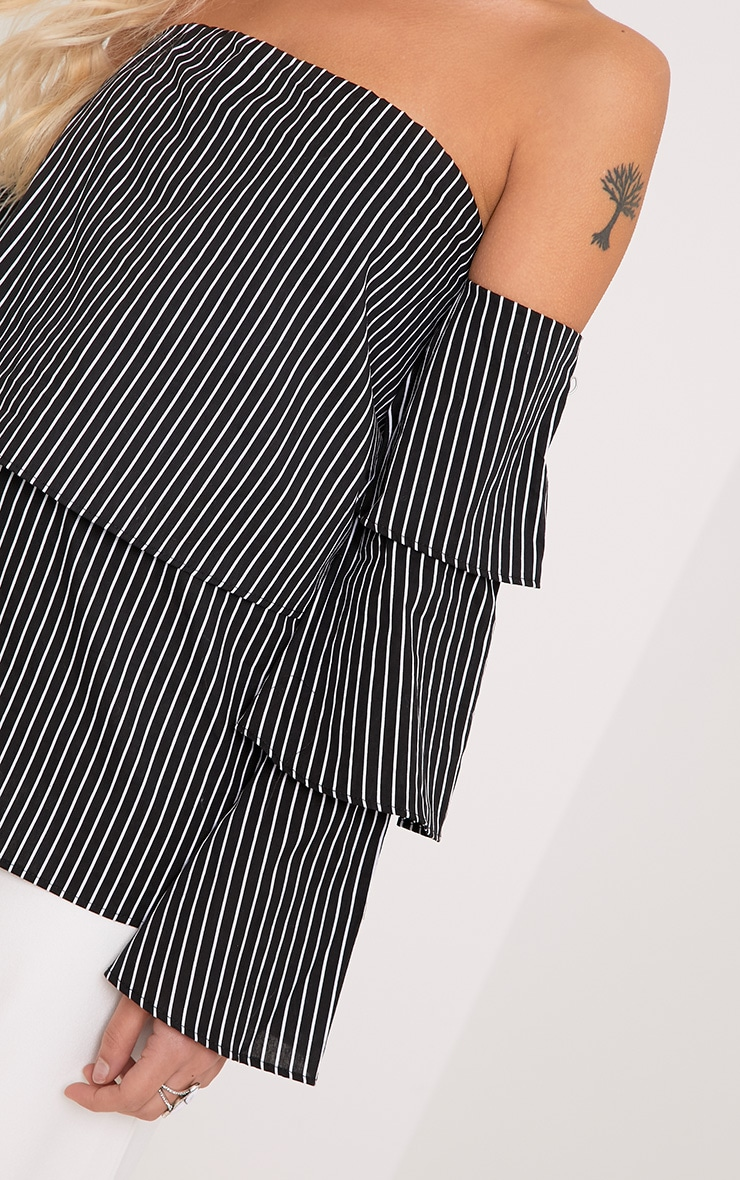 Caitie Black Stripe Ruffle Sleeve Bardot Shirt 5