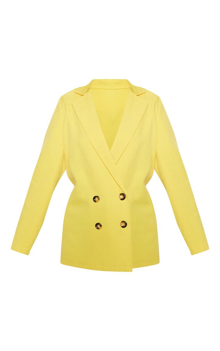 Yellow Oversized Button Detail Woven Blazer  3