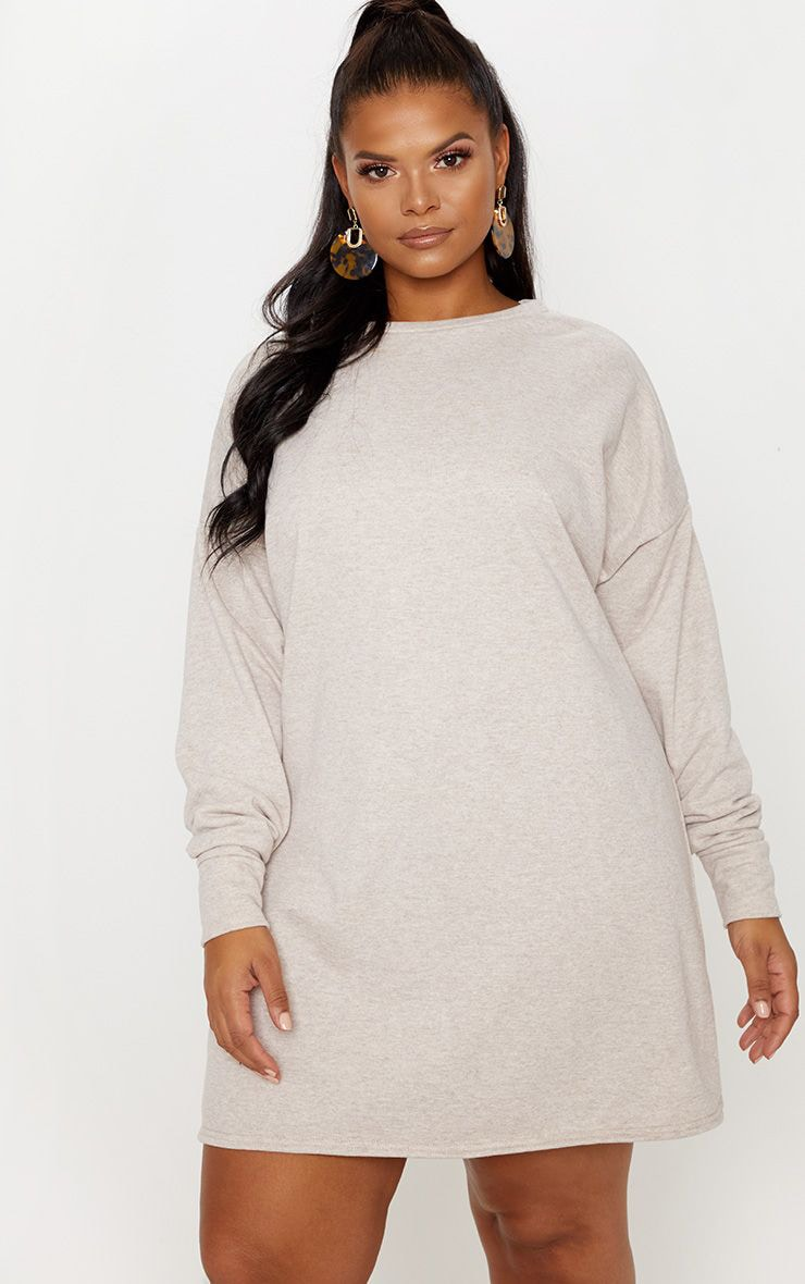 Plus Stone Oversized Sweater Dress 1