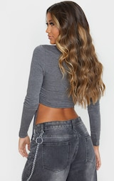 Charcoal Grey Jersey Ruched Side Long Sleeve Crop Top 2