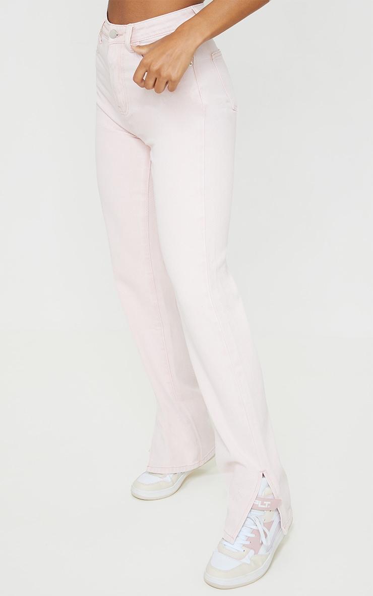 Washed Pink Split Hem Jeans 2