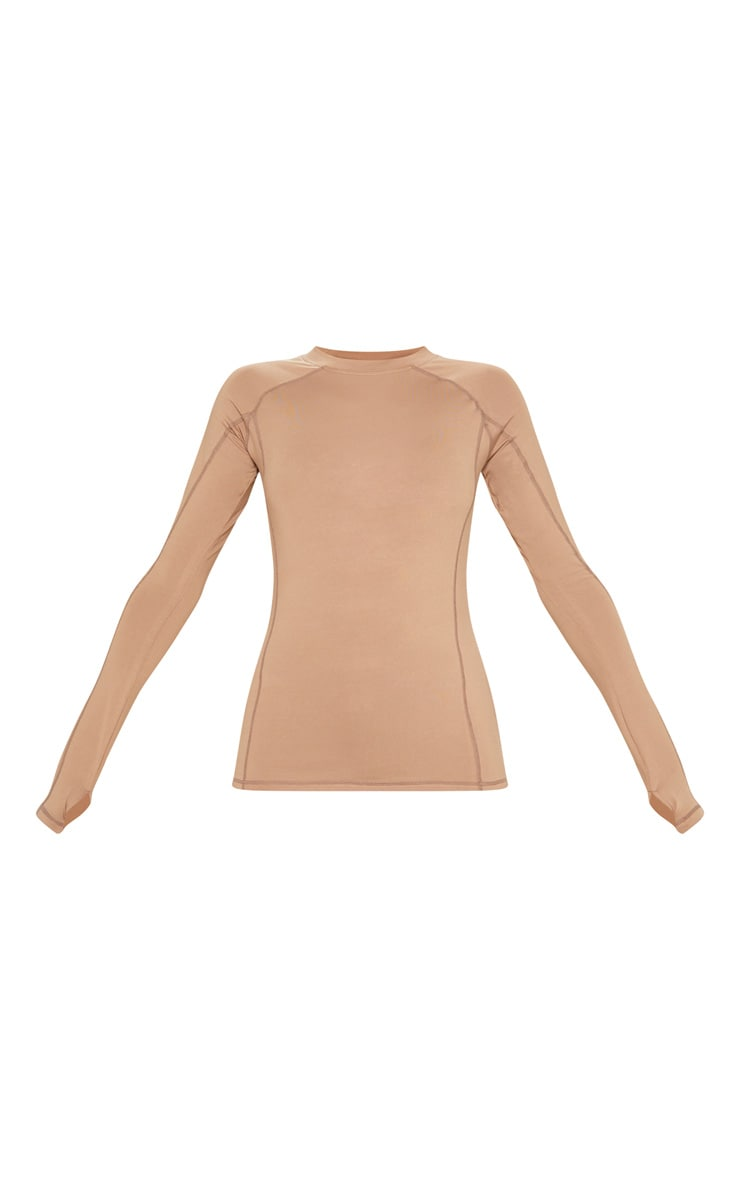 Mocha Long Sleeved Gym Top 3