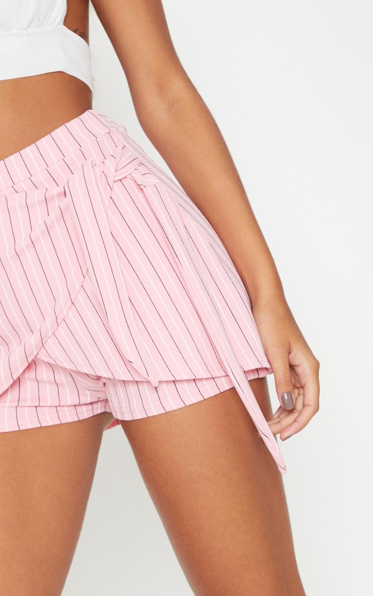 Pink Jersey Stripe Tie Front Skort 6