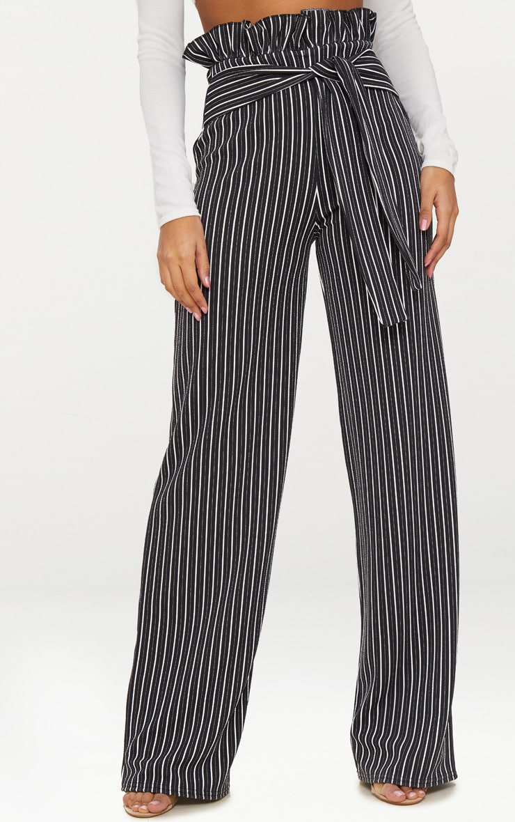 Black Stripe Wide Leg Paperbag Trousers 2