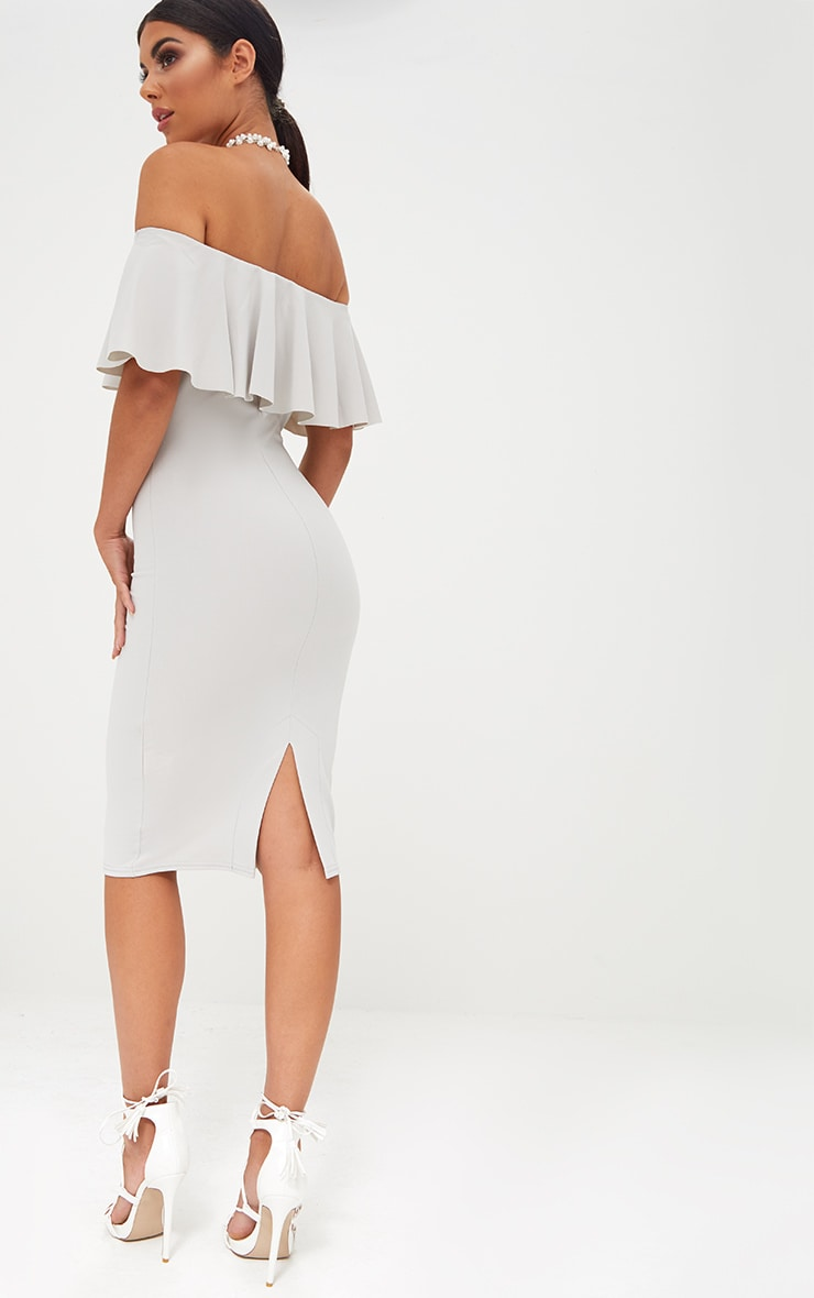 Ice Grey Bardot Frill Midi Dress  2