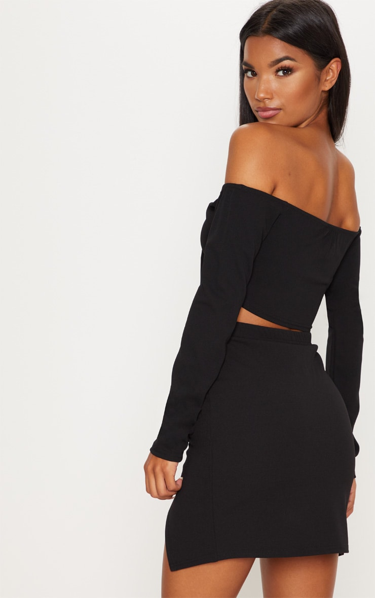 Black Bardot Tie Front Crop Top 2