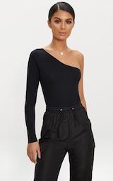 Black Stretch Crepe One Shoulder Thong Bodysuit  6