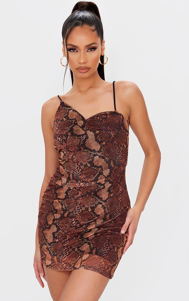 Brown Snake Print Mesh Asymmetric Strappy Bodycon Dress 1