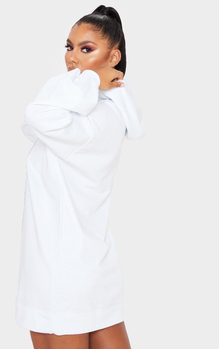 PRETTYLITTLETHING White Diamante Slogan Hoodie Dress 2