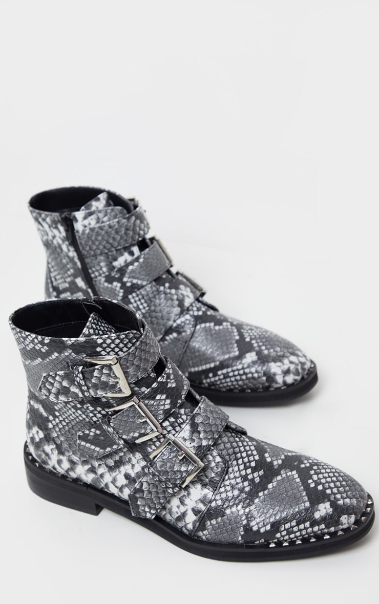 Snake Triple Buckle Ankle Boot 3
