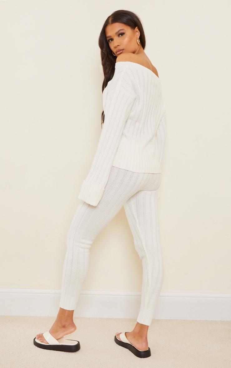 Cream Bardot Sweater And Leggings Lounge Set 2