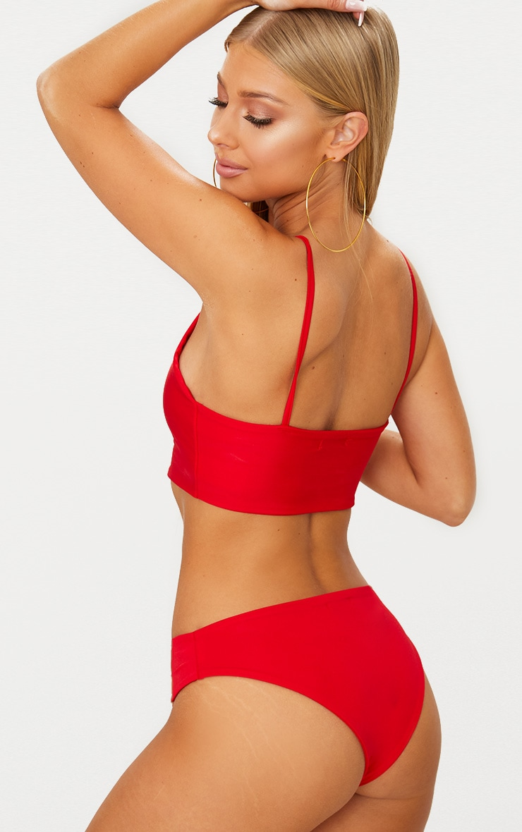 Red Mix & Match Racer Neck Bikini Top  2