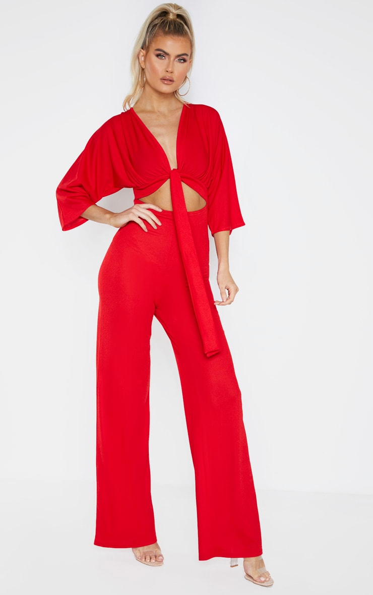Tall Red Crepe Batwing Cut Out Jumpsuit 1
