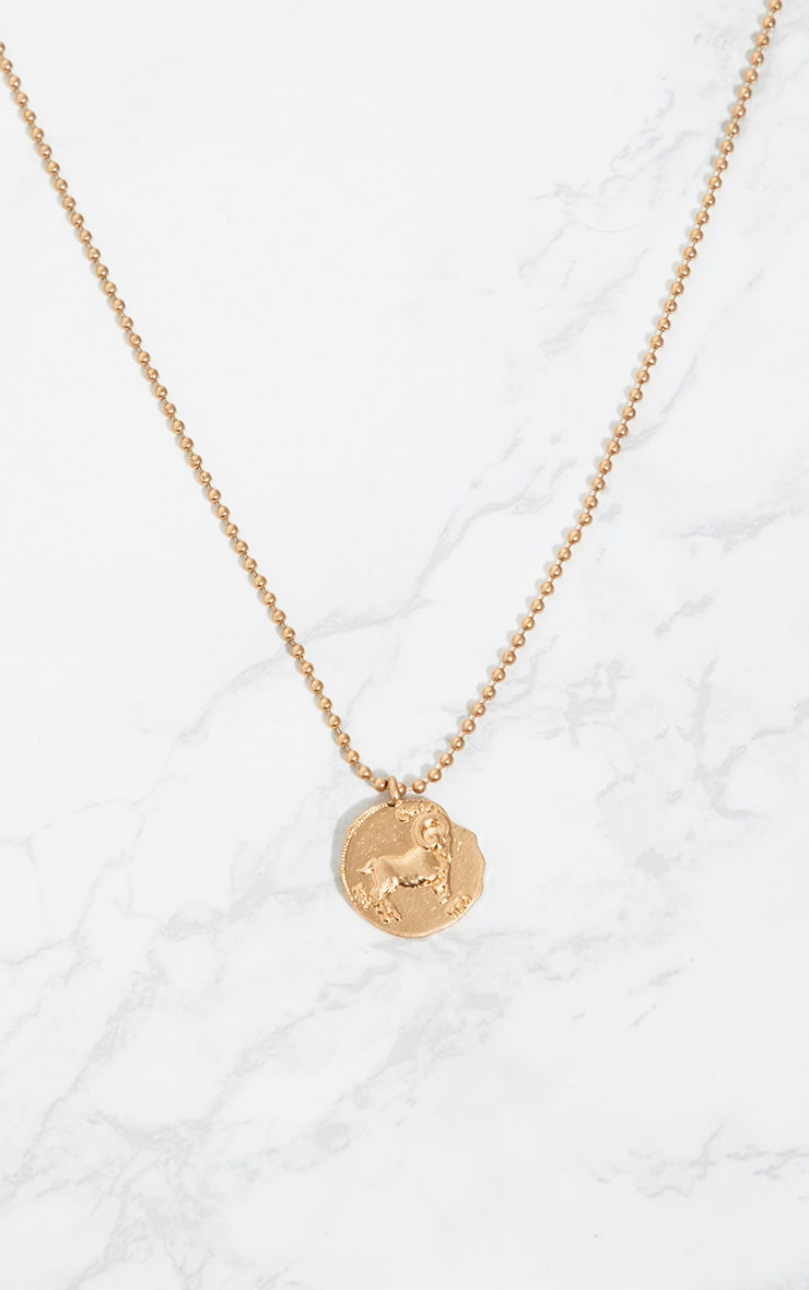 Gold Zodiac Aries Coin Pendant Necklace 3