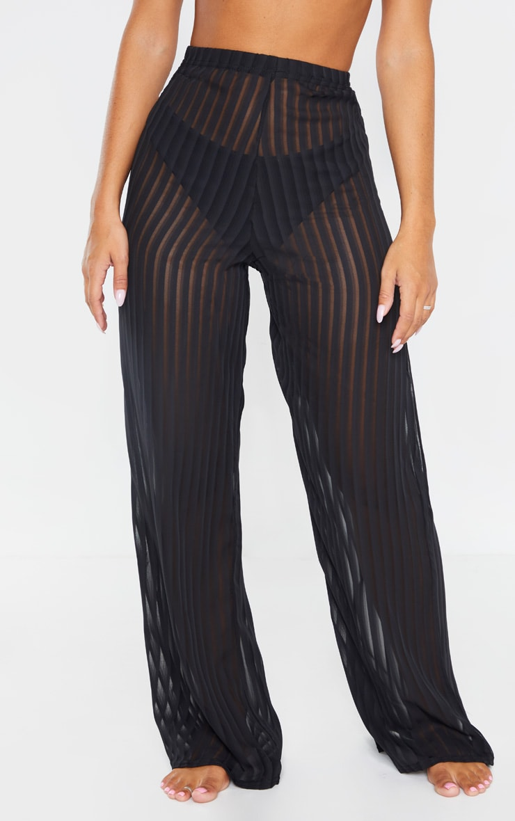 Black Sheer Stripe Wide Leg Beach Trouser 2