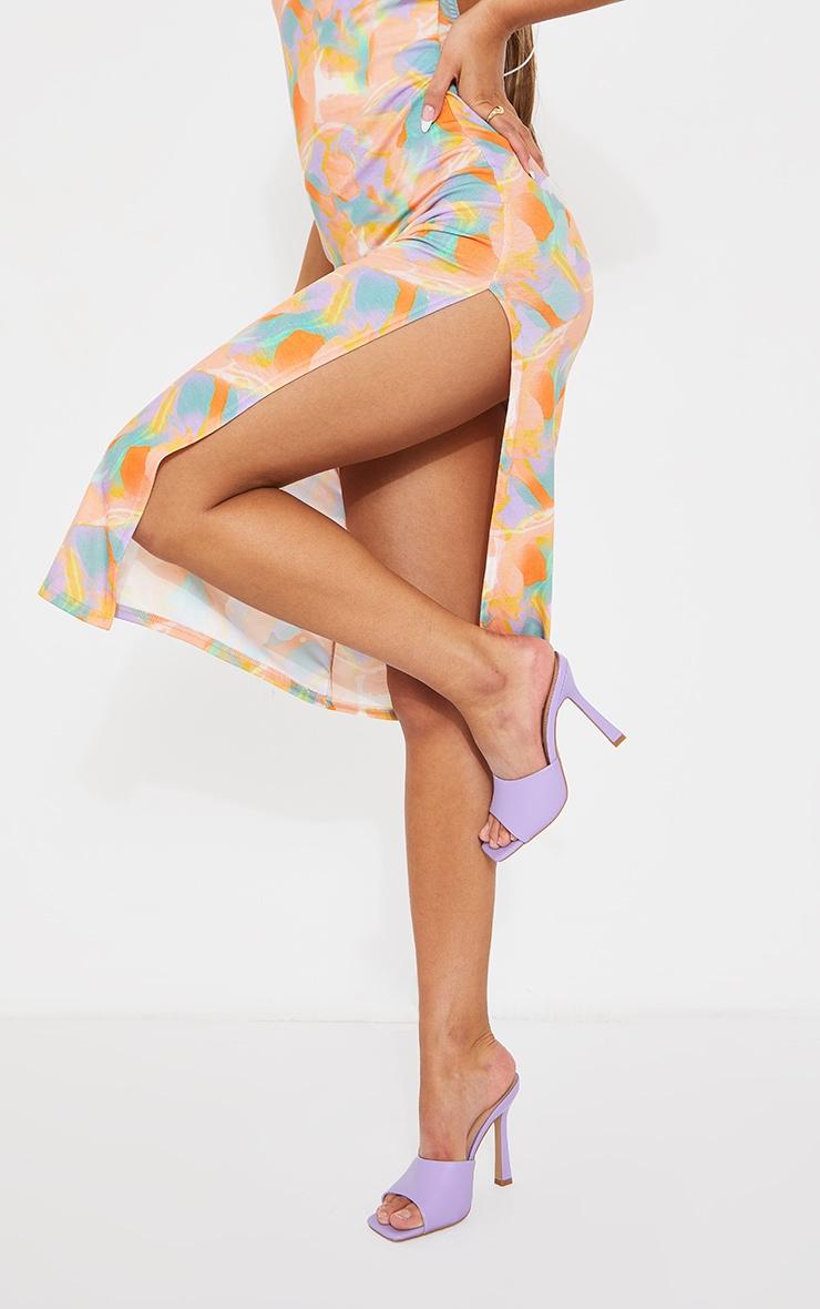 Lilac Square Toe Mule High Heels 1