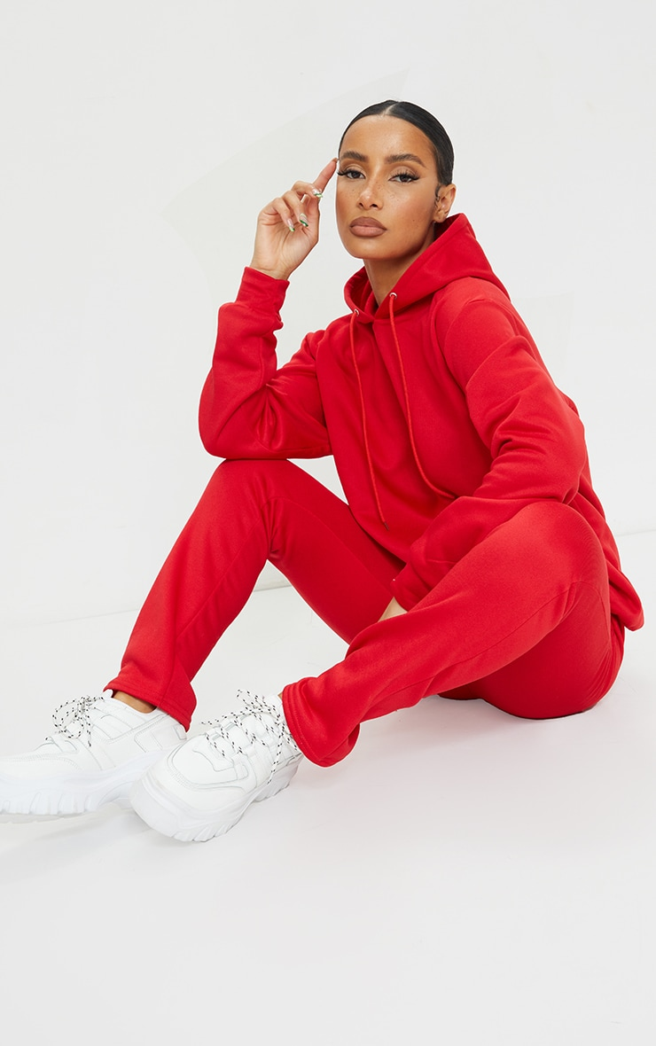 Red Oversized Sweat Hoodie & Straight Leg Jogger Set 1
