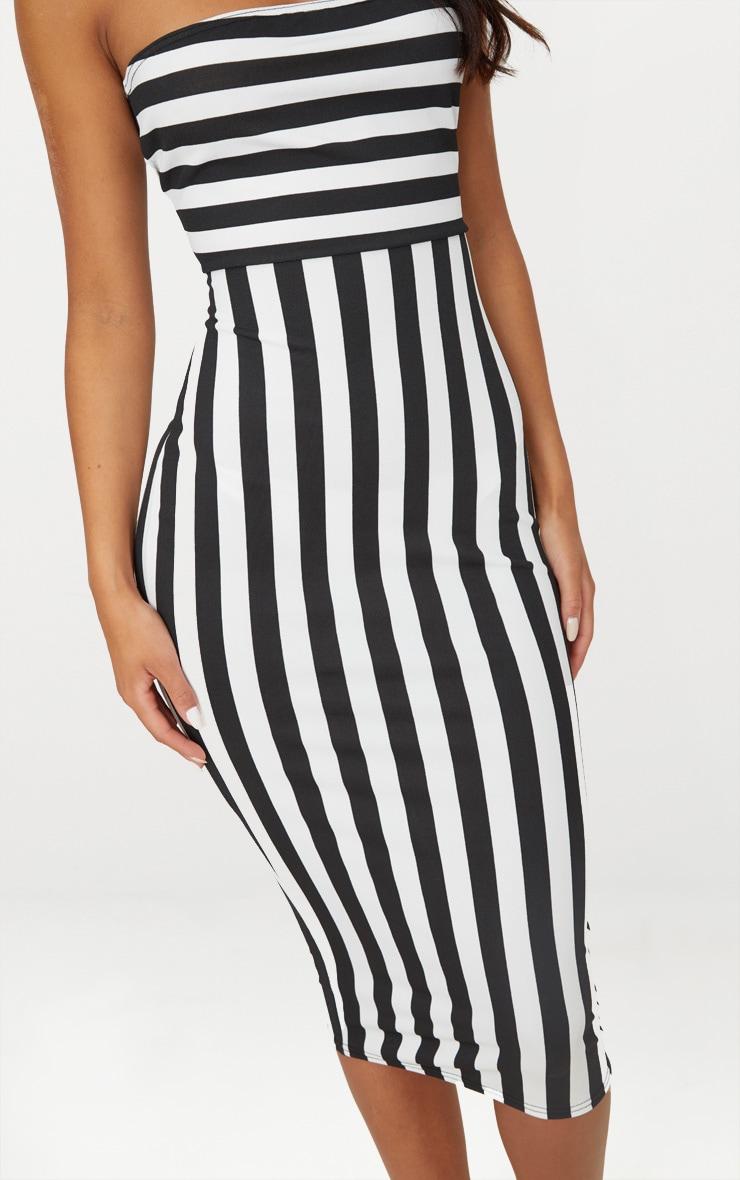 Black Contrast Stripe Bandeau Midi Dress 5