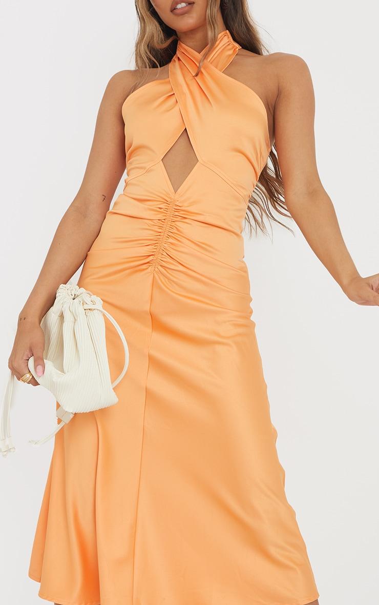 Tangerine Satin Halterneck Ruched Cut Out Midi Dress 4