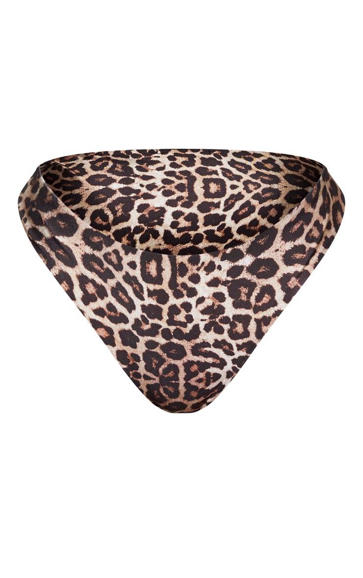 Shape Brown Leopard Print High Rise Bikini Bottoms 6