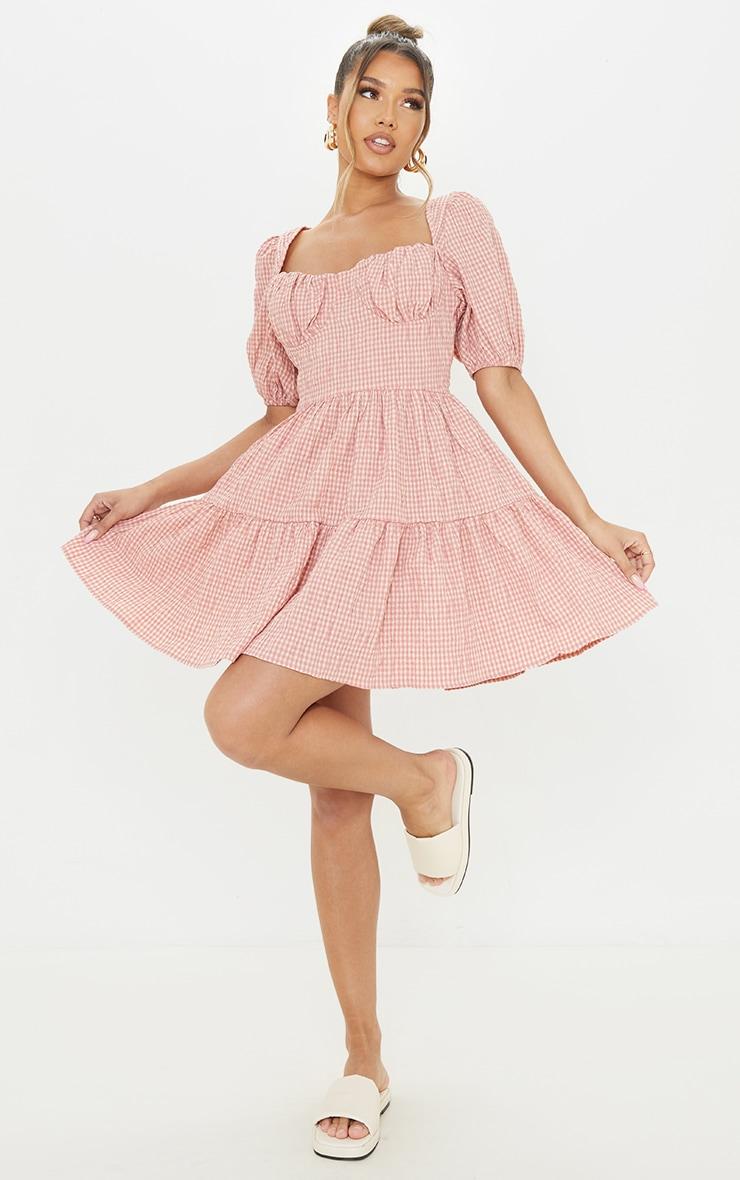 Pink Gingham Print Crinkle Underbust Detail Tiered Smock Dress 3