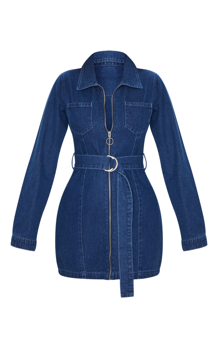 Dark Blue Wash Zip Up Belted Long Sleeve 2 Pocket Denim Dress 5