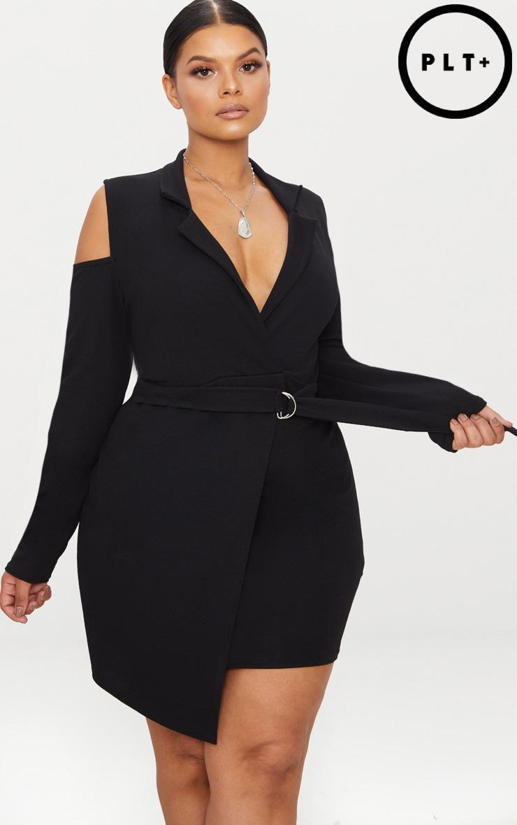 Plus Black Cold Shoulder Ring Detail Blazer Dress 1