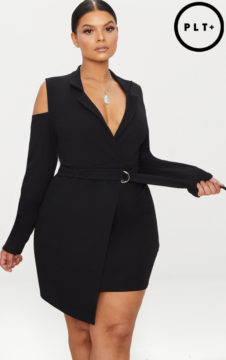 Plus Black Cold Shoulder Ring Detail Blazer Dress by Prettylittlething