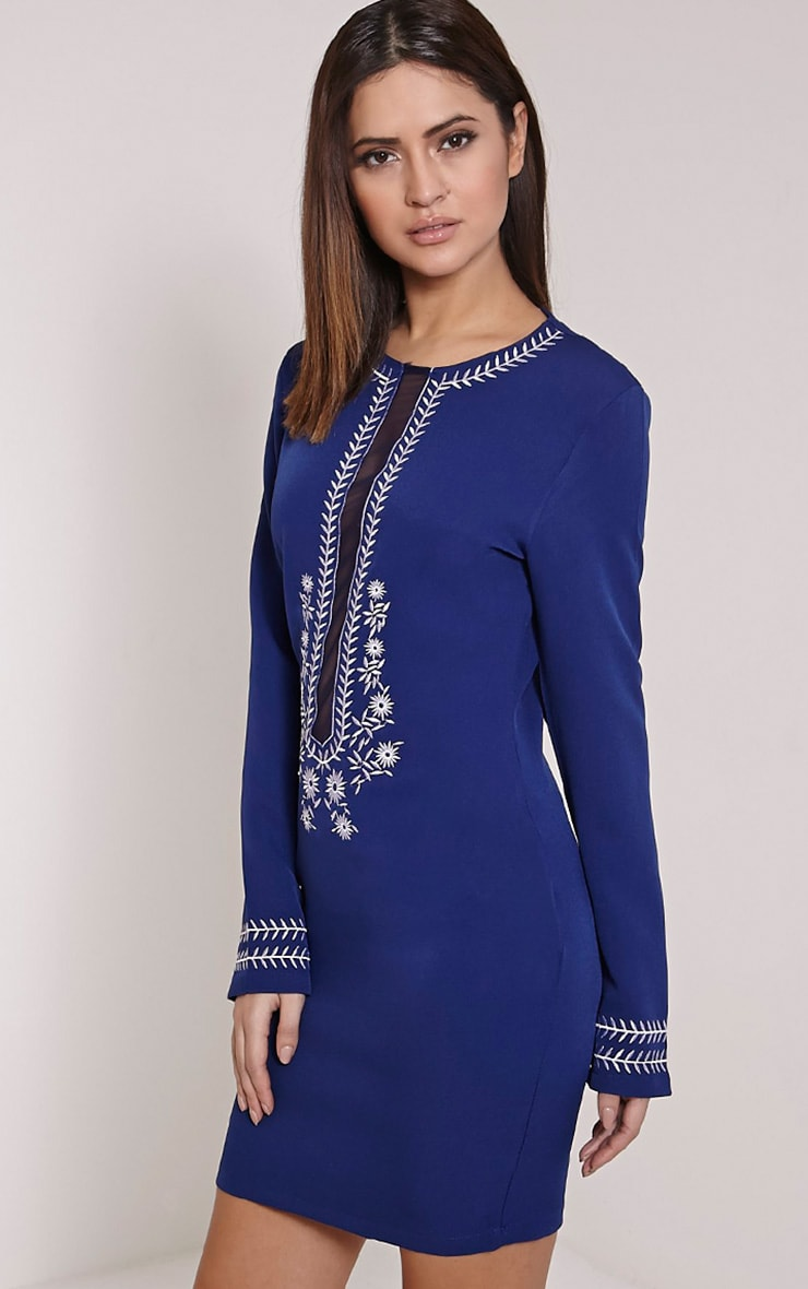 Calvy Navy Embroidered Shift Dress 3