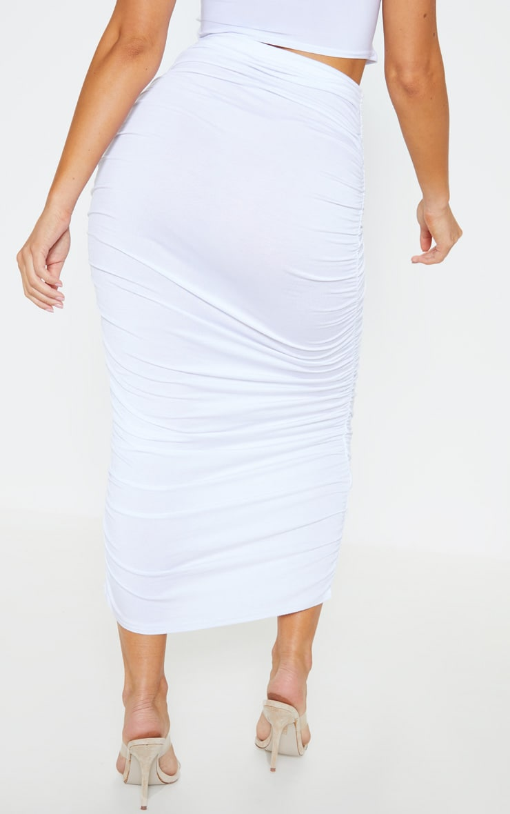 White Ruched Midaxi Skirt 4
