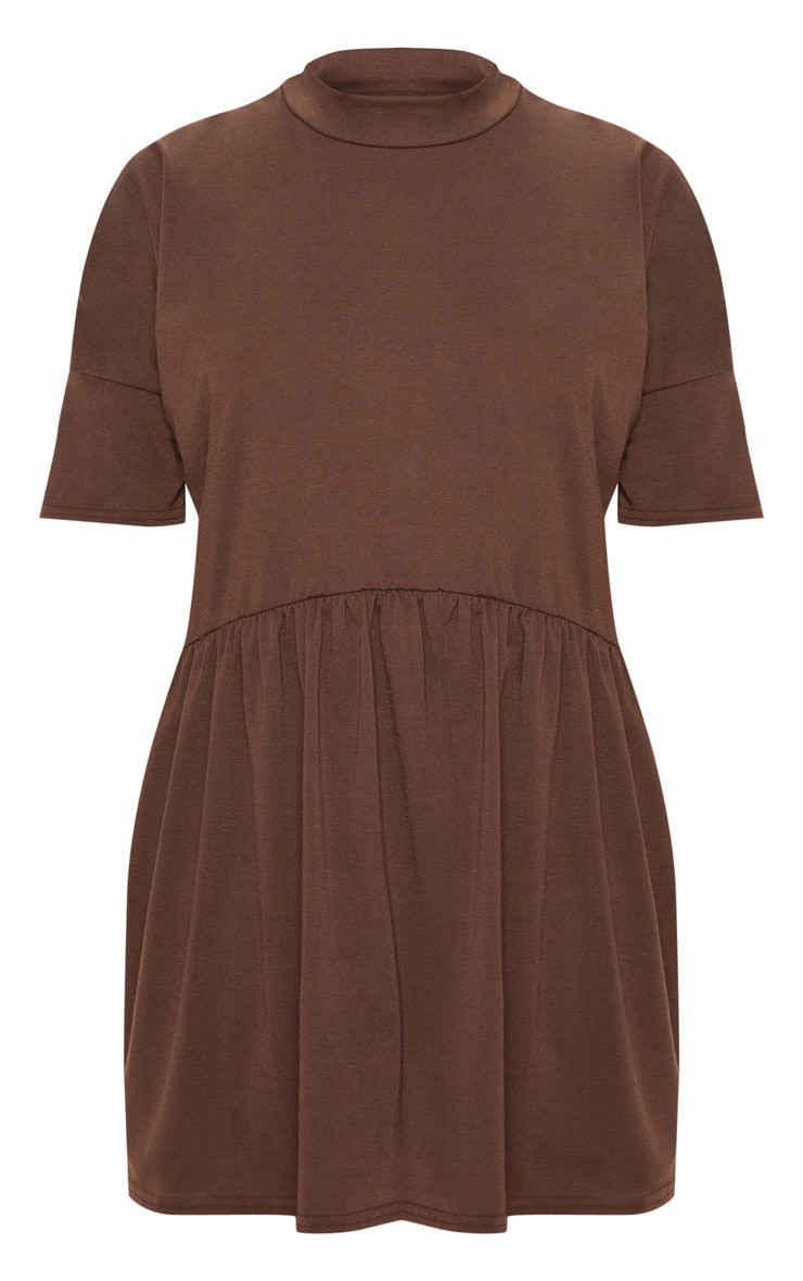 Chocolate High Neck Smock Dress 3