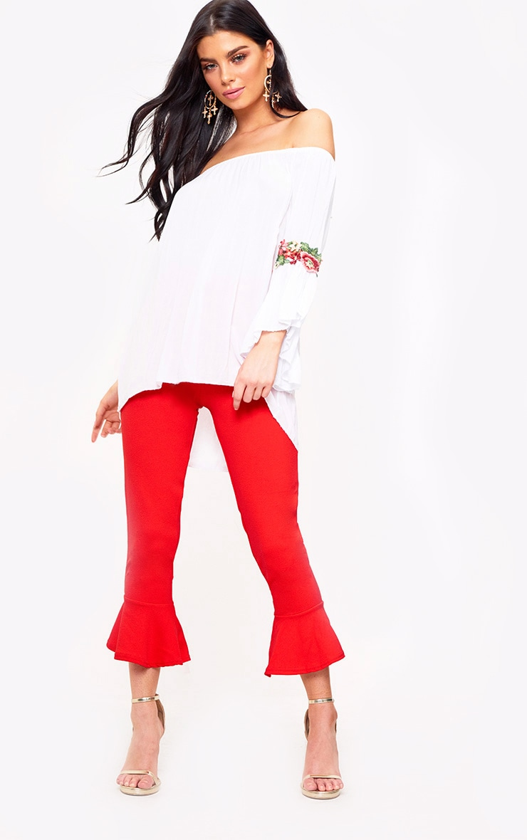 White Soft Embroidered Applique Sleeve Bardot Top 3