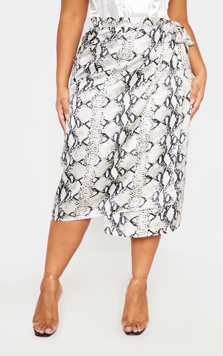 Plus Taupe Snake Print Wrap Around Midi Skirt  2