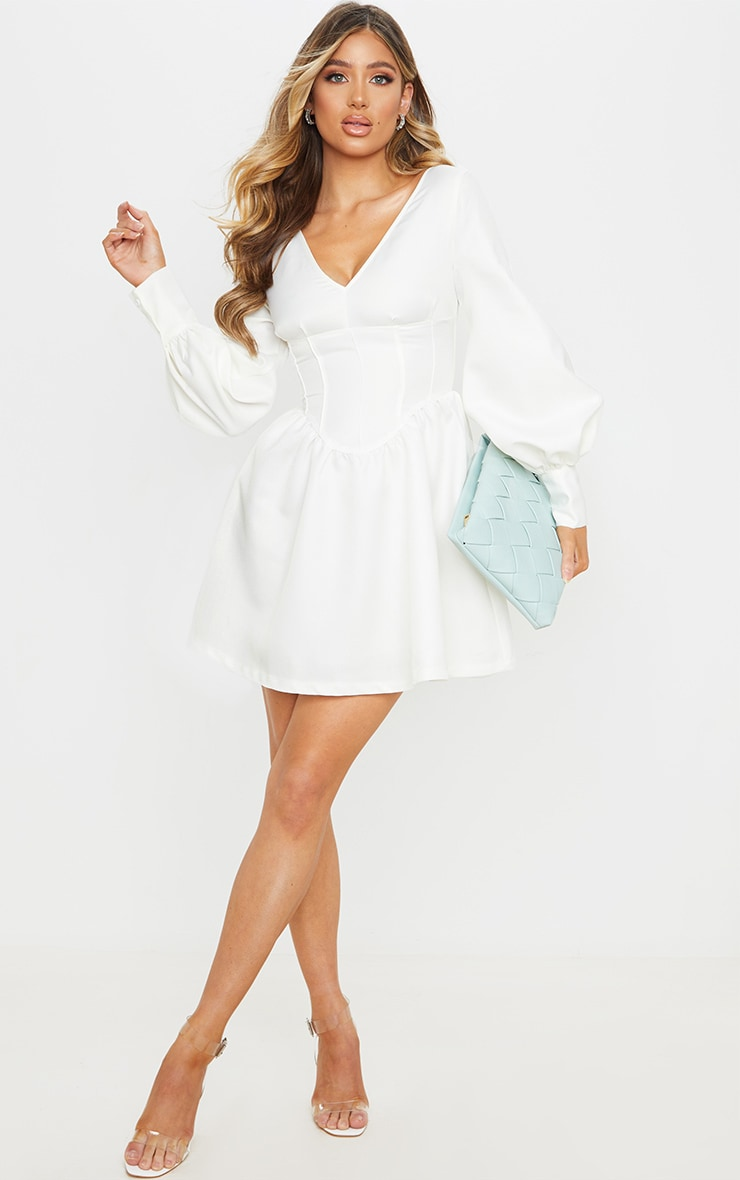White V Neck Puff Sleeve Corset Detail Skater Dress 1