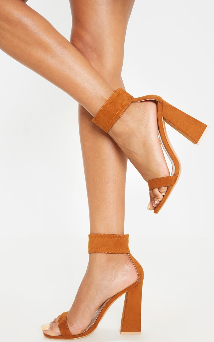 Tan Ankle Cuff Block Heel Sandal 1