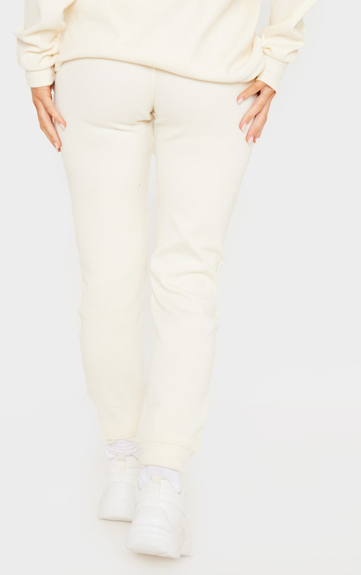 Cream Thick Rib High Waisted Jogger 3