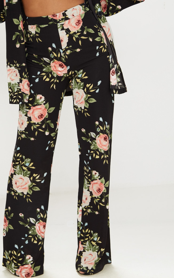 Petite Black Floral Woven Wide Leg Suit Trousers 2