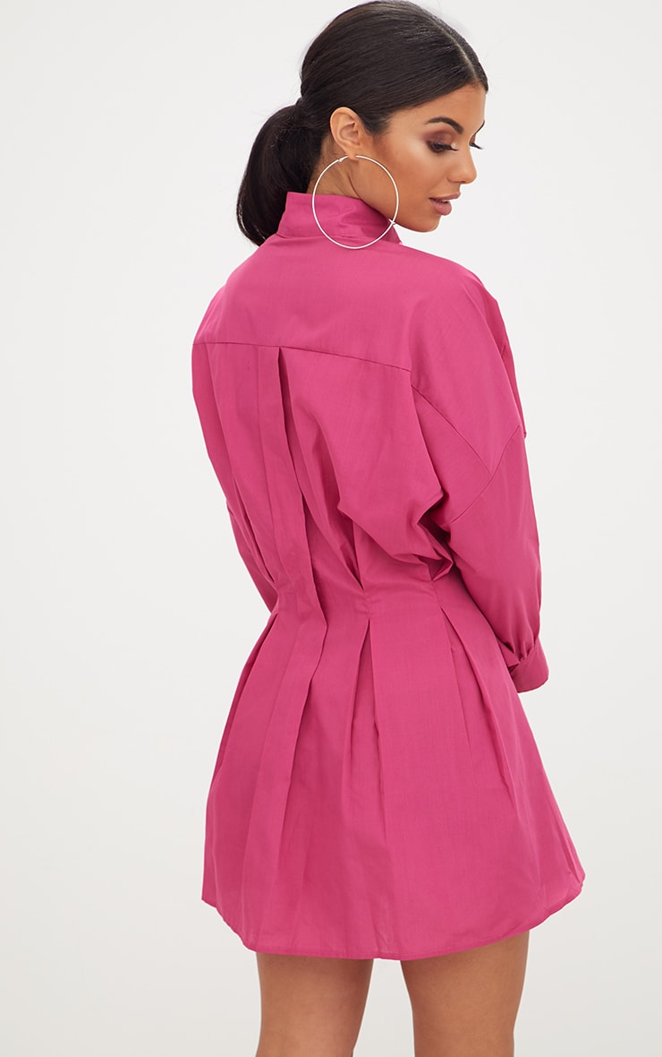 Fuchsia Ring Waist Detail Shirt Dress 2